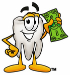 tooth holding dollar