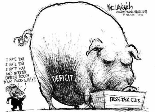 deficit-pig-eating-bush-tax-cuts